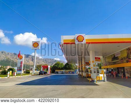 Antalya, Turkey - May 11, 2021: Shell Gas Station At Sunny Day At Antalya, Turkey