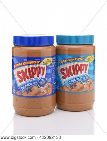 IRVINE, CALIFORNIA - JULY 10, 2017: Skippy SuperChunk and Creamy Peanut Butter. Skippy was first used as a trademark for peanut butter by the Rosefield Packing Co., of Alameda, California in 1933.