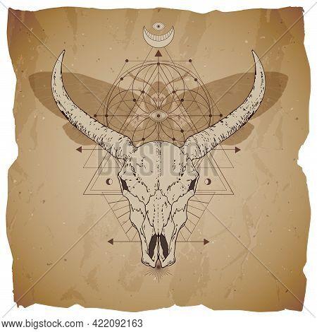 Vector Illustration With Hand Drawn Buffalo Skull, Dead Head Moth And Sacred Geometric Symbol On Vin