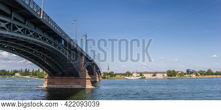 Panorama Of The Steel Bridge Over The River Rhine In Mainz, Germany