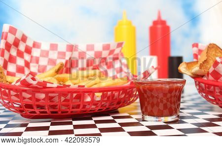Chicken Tenders With Toast In Retro Diner On Table