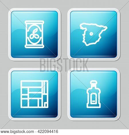 Set Line Olives In Can, Map Of Spain, House Edificio Mirador And Orujo Icon. Vector