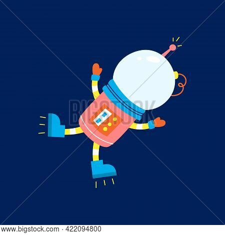 Flat Design, Astronaut Floats In Space, Vector Illustration, Infographic Element