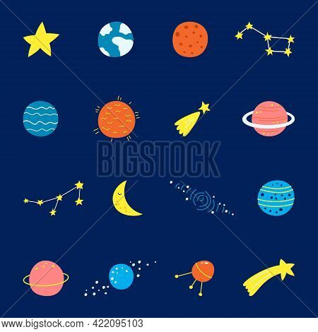 Vector Set Of Cartoon Planets. Colorful Set Of Isolated Objects. Space Background. Fantasy Planets.