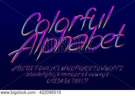 Colorful Alphabet Font. Hand Drawn Letters, Numbers And Punctuation. Uppercase And Lowercase. Hand W