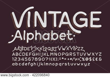Vintage Alphabet Font. Hand Drawn Messy Letters, Numbers And Symbols. Uppercase And Lowercase. Stock