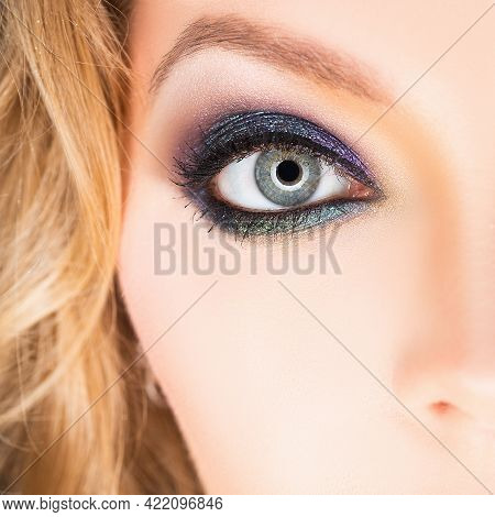 Eyes With Make Up. Makeup Closeup. Eyebrow, Long Eyelashes. Beauty Salon. Smoky Eyes Makeup. Cosmeti