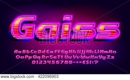 Gaiss Alphabet Font. 3d Effect Glowing Letters, Numbers And Punctuations. Uppercase And Lowercase. R