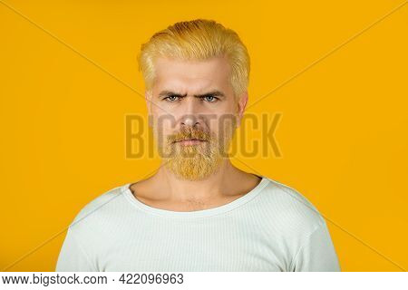 Barbershop, Dyed Hair. Portrait Of Serious Bearded Man. Mans Beard Care And Hair Care.