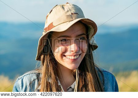Summer Portrait Of Young Hipster Woman On Sunny Day. Young Slim Beautiful Woman, Summer Vacation, Po