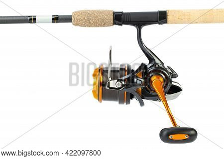 The Fishing Reel Is Mounted On A Fishing Rod For Catching Bream, Carp, Roach And Other Peaceful Fish