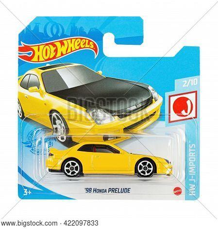 Ukraine, Kyiv - April 26. 2021: Toy Car Model Hw 98 Honda Prelude . Hot Wheels Is A Scale Die-cast T