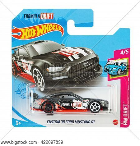 Ukraine, Kyiv - April 26. 2021: Toy Car Model Hw Custom 18 Ford Mustang Gt . Hot Wheels Is A Scale D