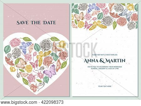 Wedding Invitation Card With Pastel Lemon Butterfly, Red Lacewing, African Giant Swallowtail, Alcide