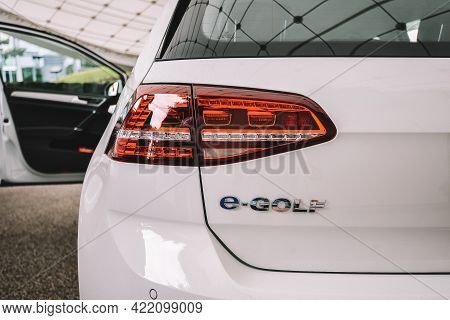 Wolfsburg, Germany - June 19, 2016: Volkswagen Vw E-golf Electric Car On The City Streets. Volkswage