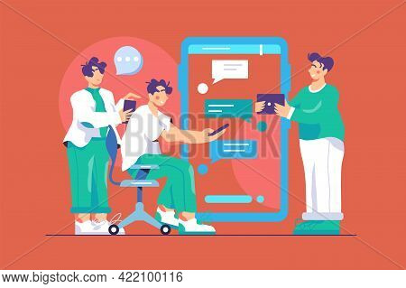 All Correspondence In General Chat Vector Illustration. Smartphone Screen With App And Income Messag