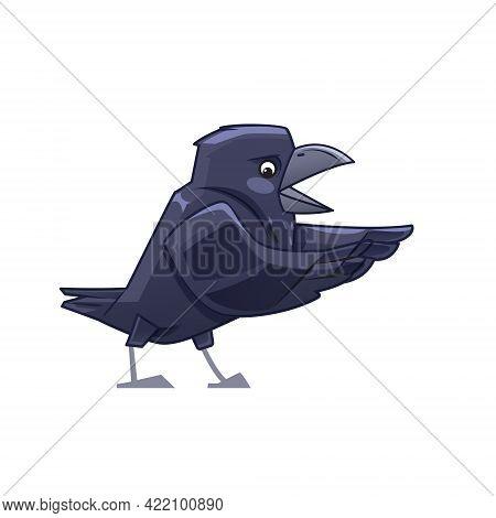 Joyful Cartoon Crow Says Happily. Cartoon Vector Illustration Isolated On White Background