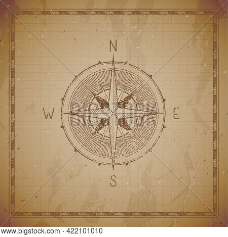 Vector Illustration With A Vintage Compass Or Wind Rose And Frame On Grunge Background. With Basic D