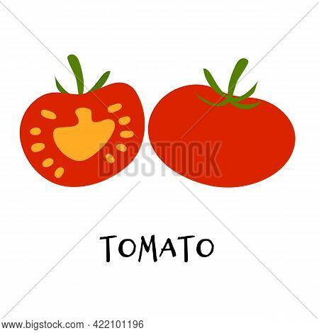 Vector Illustration Of Ripe Red Tomato In Hand Drawn Flat Style. Doodle Fresh Healthy Veggie