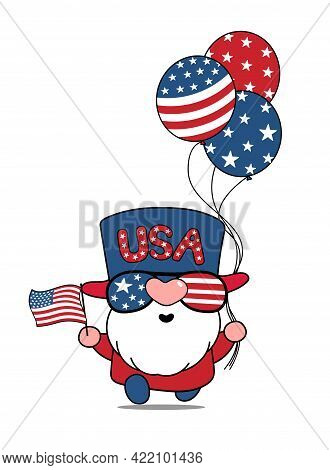 Cute Cartoon Vector America Usa Gnome 4th Of July Independence Day Illustration