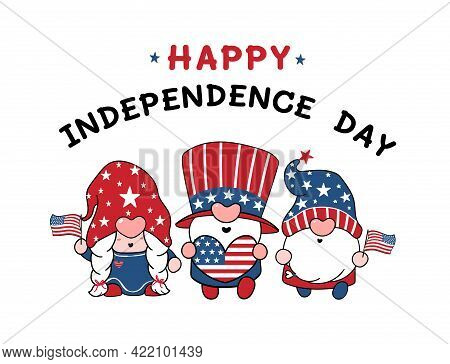 Three Cute America Gnome 4th Of July Independence Day Doodle Cartoon Vector Illustration