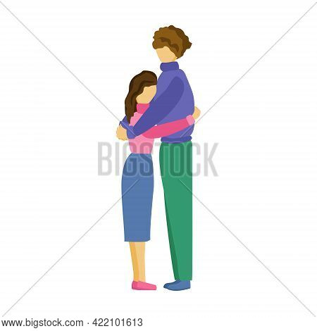 Man And Woman Hugging, Couple Stands And Hugs, Romantic Relationship Or Pleasant Meeting Concept Vec