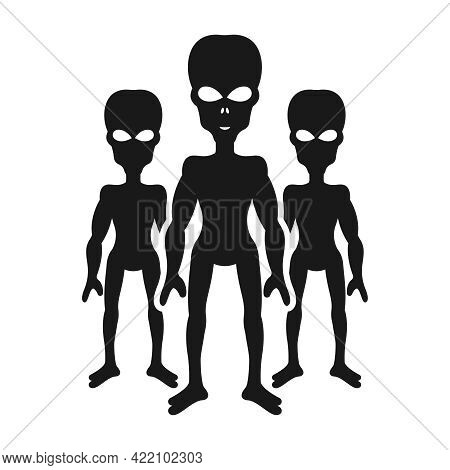 Silhouettes Of Aliens Or Invaders Black Object Isolated On White Background