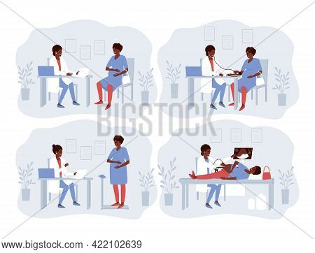 A Set Of Illustrations With A Pregnant African American Woman Visiting A Doctor. The Doctor Conducts