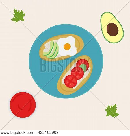 Breakfast. Toast With Egg And Avocado. Toast With Cheese And Tomatoes