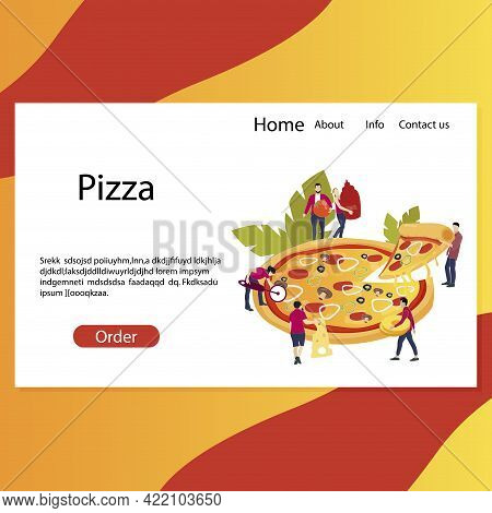 Pizzeria Web Landing Page, Website To Make Order, Fast Ordering Delicious Pizza For Friends. Templat