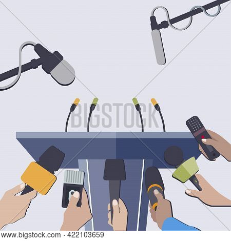 Rostrum With Microphones To Interview, Press Conference And Claim. Vector Stage For News And Mass Co