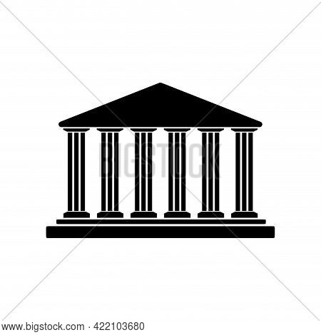 Bank Building Institution Black Silhouette. Vector Building Architecture, Business Classic Governmen