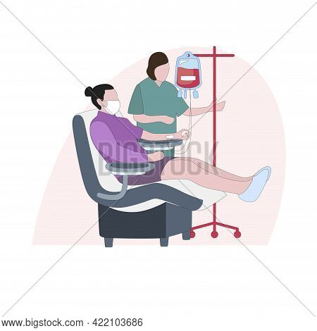 Blood Donate, Doctor Collect Plazm From Donor. Vector Blood Donation Arm, Transfusion To Assistance