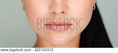 Beautiful Lips Close-up. Makeup. Lip Matte Lipstick. Sexy Lips. Part Of Face, Young Woman Close Up