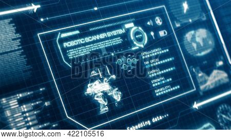 Hud Robot Scanning System Ability User Interface Computer Screen Display With Pixels Background. Blu