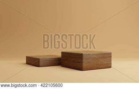 Two Brown Wooden Rectangle Cube Product Stage Podium On Orange Background. Minimal Fashion Theme. Ge