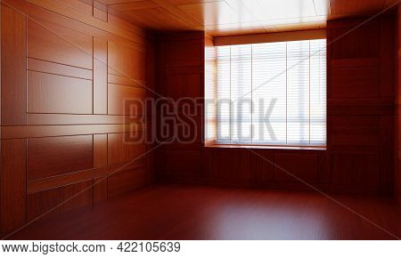 Empty Asian Style Wooden Room With Window. Japanese Modern Design With The Wood Plank. Architecture