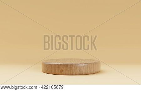 One Brown Wooden Round Cylinder Prodone Brown Wooden Round Cylinder Product Stage Podium On Orange B