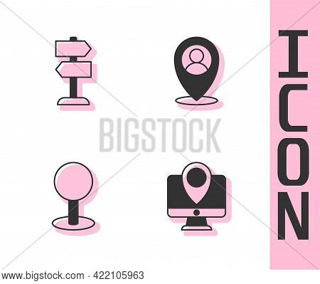 Set Monitor With Location Marker, Road Traffic Sign, Push Pin And Location Person Icon. Vector