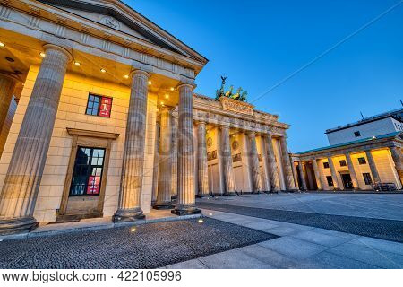 The Famous Brandenburg Gate In Berlin At Dawn With No People