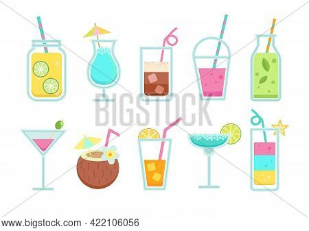 Set Of Non-alcoholic And Alcoholic Drinks In Simple Flat Style. Summer Lemonade And Soda, Coffee, Sm
