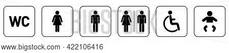 Set Of Wc Icons. Toilet Symbols And Signs. Vector Restroom Icon Isolated On White Background