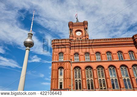 The Famous Tv Tower And The Town Hall Of Berlin On A Sunny Day