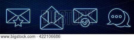 Set Line Envelope And Check Mark, Envelope With Star, Outgoing Mail, Speech Bubble Chat And Speech B