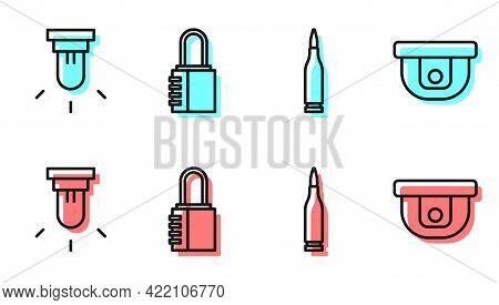 Set Line Bullet, Motion Sensor, Safe Combination Lock And Motion Sensor Icon. Vector