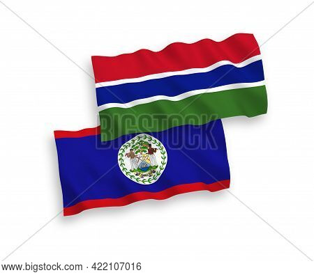 National Fabric Wave Flags Of Belize And Republic Of Gambia Isolated On White Background. 1 To 2 Pro
