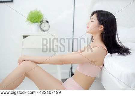 Beautiful Portrait Young Asian Woman Sexy In Underwear Figure Fit Relax With Seductive In Bedroom, A