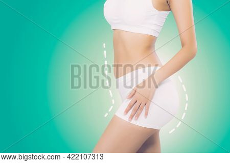 Beautiful Sexy Body Woman With Lines And Curve With Weight Loss, Skin Of Waist And Cellulite, Diet F