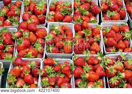 Fresh Strawberries For Sale At A Market