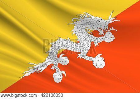 Flag Of Butane. Fabric Texture Of The Flag Of Butane.